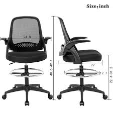 Ergonomic Mid-Back Mesh Drafting Chair With Lumbar Support ...