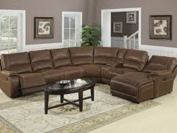 furniture 64 l shaped light brown leather couch with recliner