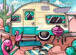 Camper Clipart Painted Vintage 8
