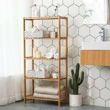 songmics badregal mit 5 ablagen 130 x 60 x 26 cm badezimmerregal aus bambus bcb35y