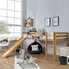 buche hochbett für kinder mit rutsche 90x200 fino