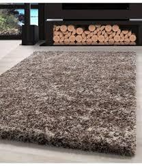 shaggy teppich hochwertig hochflor wohnzimmer beige taupe creme meliert