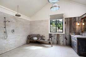 Rustic Wet Room Style Bathroom French Country