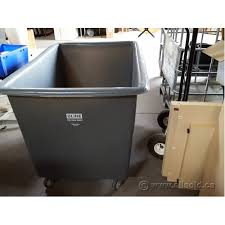 Uline Poly Box Basket Truck Garbage Laundry Bin Cart 20 BU