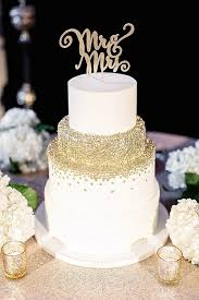 Gold Confetti Wedding Cake With Fun Mr And Mrs Topper