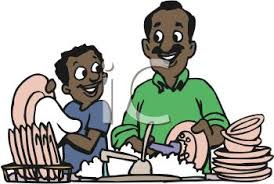 Kids Washing Dishes Clipart Royalty Free Image