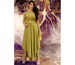 buy olive green color georgette straight cut salwar kameez in uk