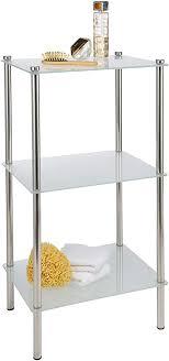 verchromtes badregal mit 3 satinierten glasböden im eleganten design 42 x 32 x 75 cm 33340