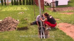 fils a linge exterieur poteau terragrip système de poteau à emprise horizontale