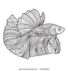 Coloring Book Page With Hand Drawn Betta Fish Illustration Zenart Stylized For Relax