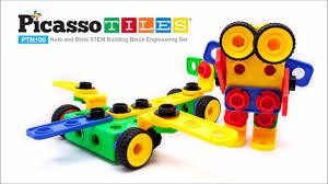 Picasso Tiles Magnetic Building Blocks by Picassotiles Ptn100 100pcs Nuts And Bolts Building Block