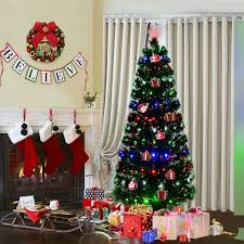 Costway 6Ft Fiber Optic Artificial Christmas Tree W 225 Multi Color LED Lights And
