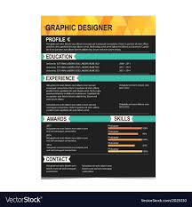 Creative Resume Template Background Vector Image Templates Indesign