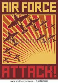 Air Force Attack Poster Old Planes Design World War II Illustration