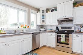 Colorful Kitchens White Kitchen Cabinets With Dark Floors Tiles Design Oak Blues