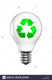 Recycle light bulb 3D render of light bulb with recycling symbol