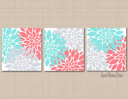 Gray And Teal Bathroom by Coral Teal Aqua Gray Wall Art Coral Aqua Gray Froral Art Coral