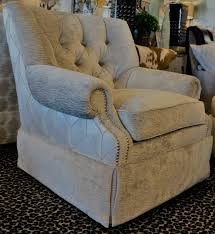 Silver Geometric And Gray Tufted Swivel Glider