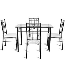 Giantex 5 Piece Dining Set Glass Metal Table And 4 Chairs ... Oak Ding Table 4 Chairs Tanner Fniture Designs Flore Stream With Modern White Round For Kitchen Room Coffee Leisure 5 Pieces White Table Chair Rovicon Warwick Grey Extending Burke Inc Mid Century Saarinen Style Tulip Set Stockholm Stainless Steel Legs Rokane Brown 6 Pc Rect Drm Ext Uph Bench Game Features Games Wood Tk Classics Square Normandy Julian Bowen Aspen Pine