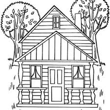 Houses With Two Big Trees Coloring Page
