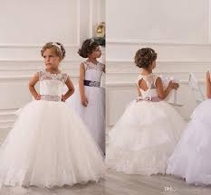 2015 Spring Flower Girl Dresses Vintage Jewel Sash Lace Net Baby