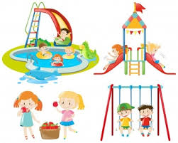 Many Kids Playing At The Playground And In Pool
