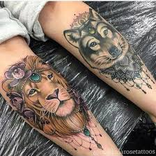Lion And Wolf Tattoo