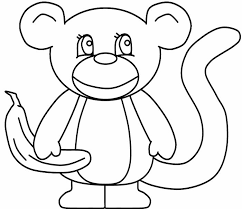Monkey Coloring Page Template