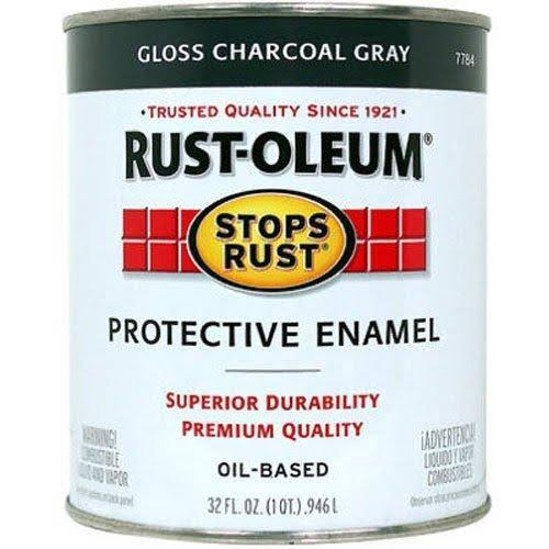 Rust-Oleum 7784502 Stops Rust Enamel - 32oz, Gloss Charcoal Gray