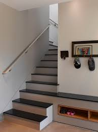hall tree storage bench in staircase contemporary with diy shoe