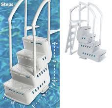 Above Ground Pool Ladder Deck Attachment by Step W 2 Pvc Handrails U0026 Deck Attachment Poolsupplies Com