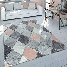 paco home teppich wohnzimmer kurzflor modernes skandinavisches design rauten rosa grau grösse 160x230 cm
