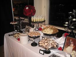 Black And White Crystal Dessert Table Red Roses