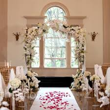 White Flowers And Crystal Wedding Altar Winter ArchIndoor