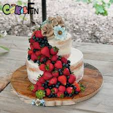 Rustic Semi Naked Cake With Fruit