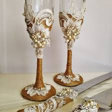Personalized Wedding Glasses And Cake Server Set Cutter Rustic Toasting Flutes