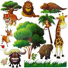 Jungle Safari Wall Decals Peel Stick Tree Sticker And Jungle Anima