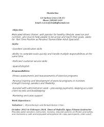 Sales Trainer Resume Sample Fitness Instructor Weight Loss Personal Gym