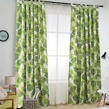 moderner vorhang grüne blätter design für wohnzimmer