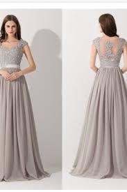 Grey Cap Sleeve Evening Dress Cap Sleeve Formal Evening Dress Grey
