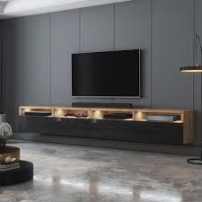 selsey tv schrank rednaw modernes tv board in wotan eiche matt schwarz hochglanz mit led stehend hängend 200 cm breit