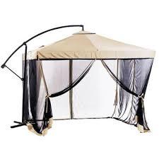offset tan patio umbrella instant gazebo with mesh netting