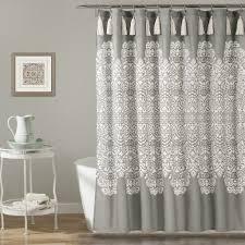 Medallion Grey Boho Tassel Shower Curtain