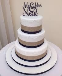 Rustic Ribbon Navy Wedding Cake
