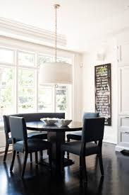 dining room kitchen banquette with black dining chair and black