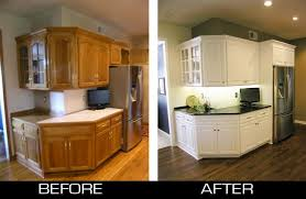 Kitchen Cabinet Before And After Refacing Oak To White With Black