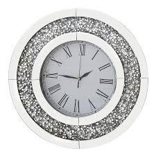 richtop wanduhr gross fast lautlos schwarz samt umwickelt holz back quartz uhr rund spiegel design mit glitzern diamant 50cm für wohnzimmer küche