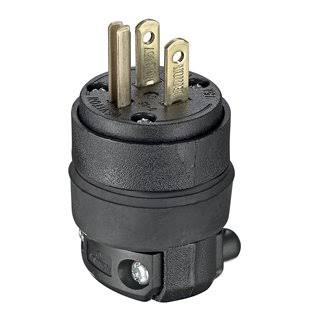 Leviton Rubber Grounding Plug - 15A, 125V