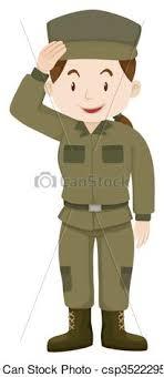 Female Soldier In Green Uniform Vector