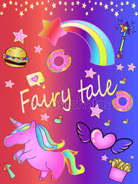 Fabulous Background Unicorn Rainbow Donuts Time Magic Fairy Tale Beautiful